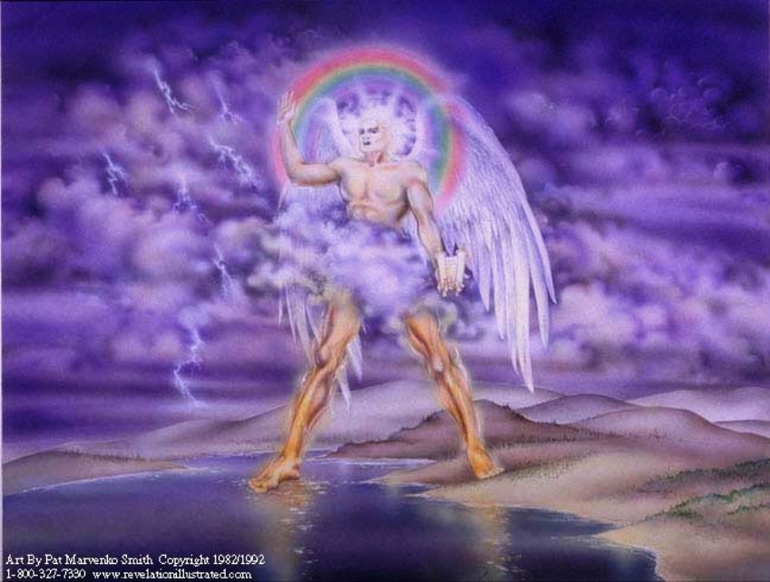 The Mighty Angel with a Rainbow Hat and a Scroll in His Hand