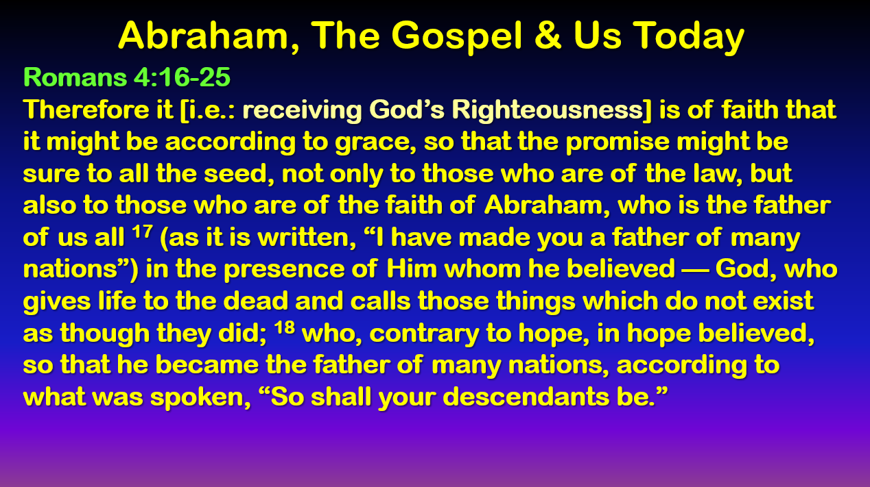 Abraham, the Gospel, and Us today