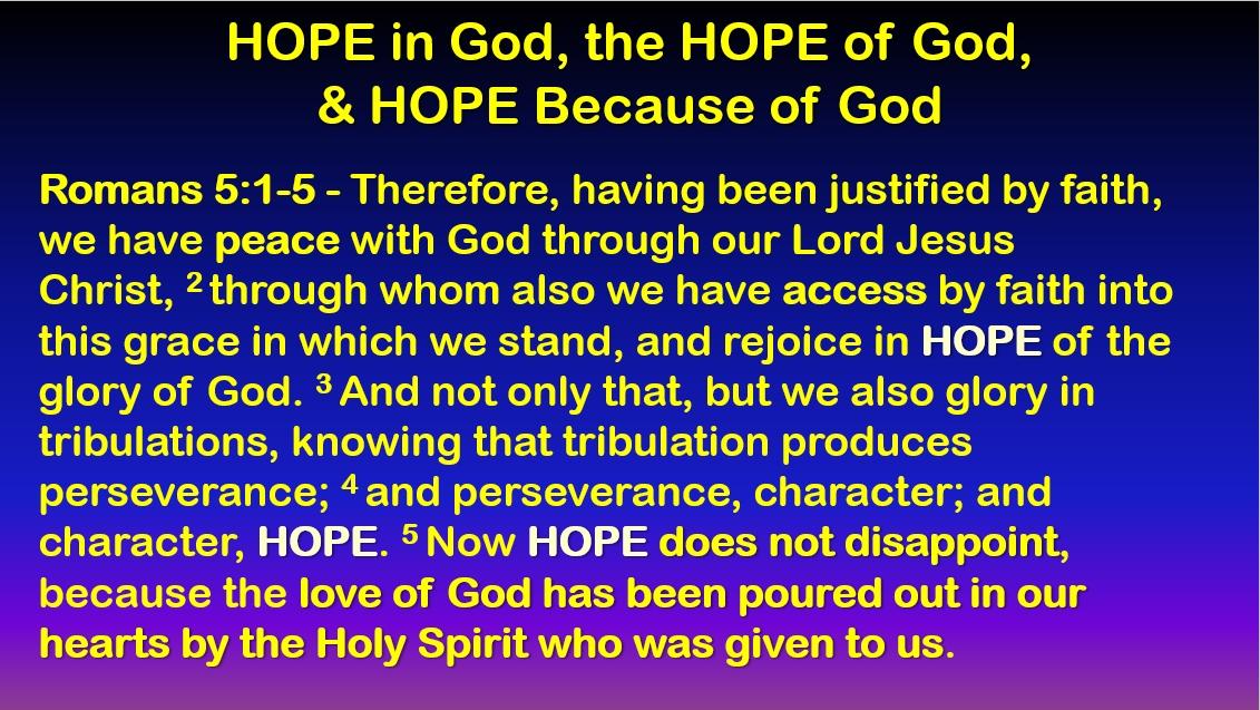 Hope From God in Christ - Romans 5:1-5